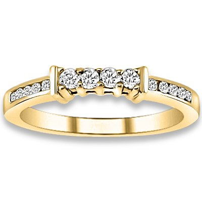 0.22 ctw 14k Yellow Gold I-J Color VS-SI Clarity Natural Round Diamonds Wedding Bands
