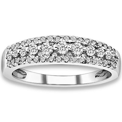 0.43 ctw 14k White Gold G-H Color I1 Clarity Natural Round Diamonds Wedding Bands