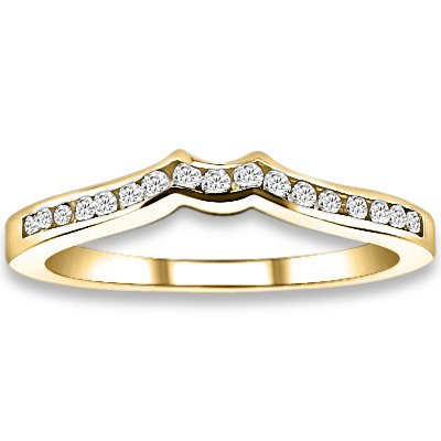 0.17 ctw 14k Yellow Gold I-J Color VS-SI Clarity Natural Round Diamonds Wedding Bands