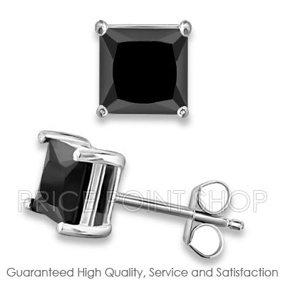 1.00 ctw 5x5 mm Black Cubic Zirconia Princess Cut .925 Sterling Silver Square Studs