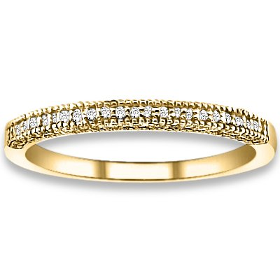0.17 ctw 14k Yellow Gold H-I Color SI2-SI3 Clarity Natural Round Diamonds Wedding Bands