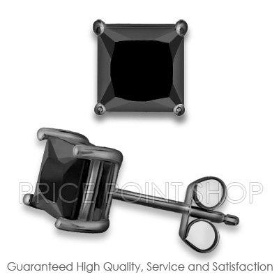 0.50 ctw Princess Cut Black CZ Sterling Silver Black Rhodium Studs Earrings 4x4 mm