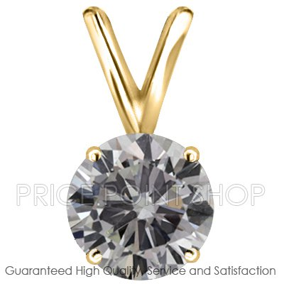 0.75 ctw Yellow Gold 4 Prong Basket H-I Color SI Clarity Certified Solitaire Diamonds Pendants