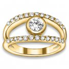 1.52 ctw 14k YG Natural G-H Color, I1 Clarity, Accent Diamonds Engagement Rings