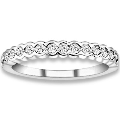 0.38 ctw 14k White Gold H-I Color SI2-SI3 Clarity Natural Round Diamonds Wedding Bands