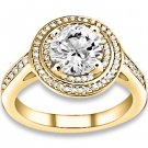 0.87 ctw 14k YG Natural G-H Color, I1 Clarity, Accent Diamonds Engagement Rings