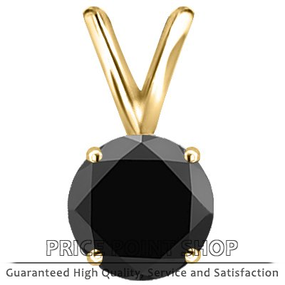 1.00 ctw 14k Yellow Gold 4 Prong Basket A Certified Black Solitaire Diamonds Pendants