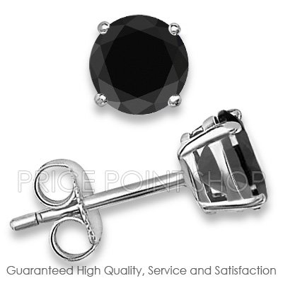 1.00 ctw 5.00 mm Black Cubic Zirconia Round Brilliant 925 Sterling Silver Basket Studs