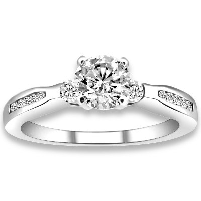 0.70 ctw 14k WG Natural I-J Color, VS - SI Clarity, Accent Diamonds Engagement Rings