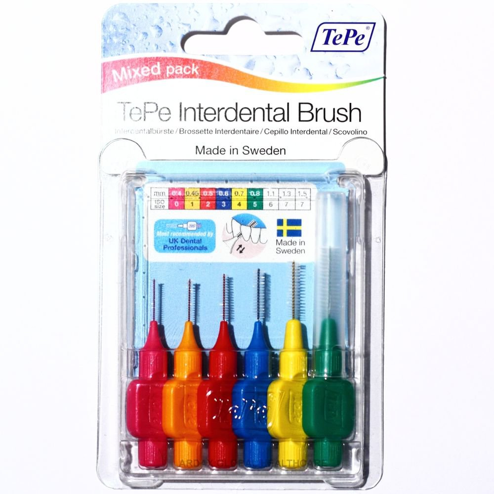 TePe TE-PE INTERDENTAL BRUSH MIXED PACK ISO SIZES 0, 1, 2, 3, 4 & 5  PER PACK