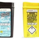 SHARPS BIN/BOX 0.20 L X 2 TRAVEL SIZE. BLACK + YELLOW