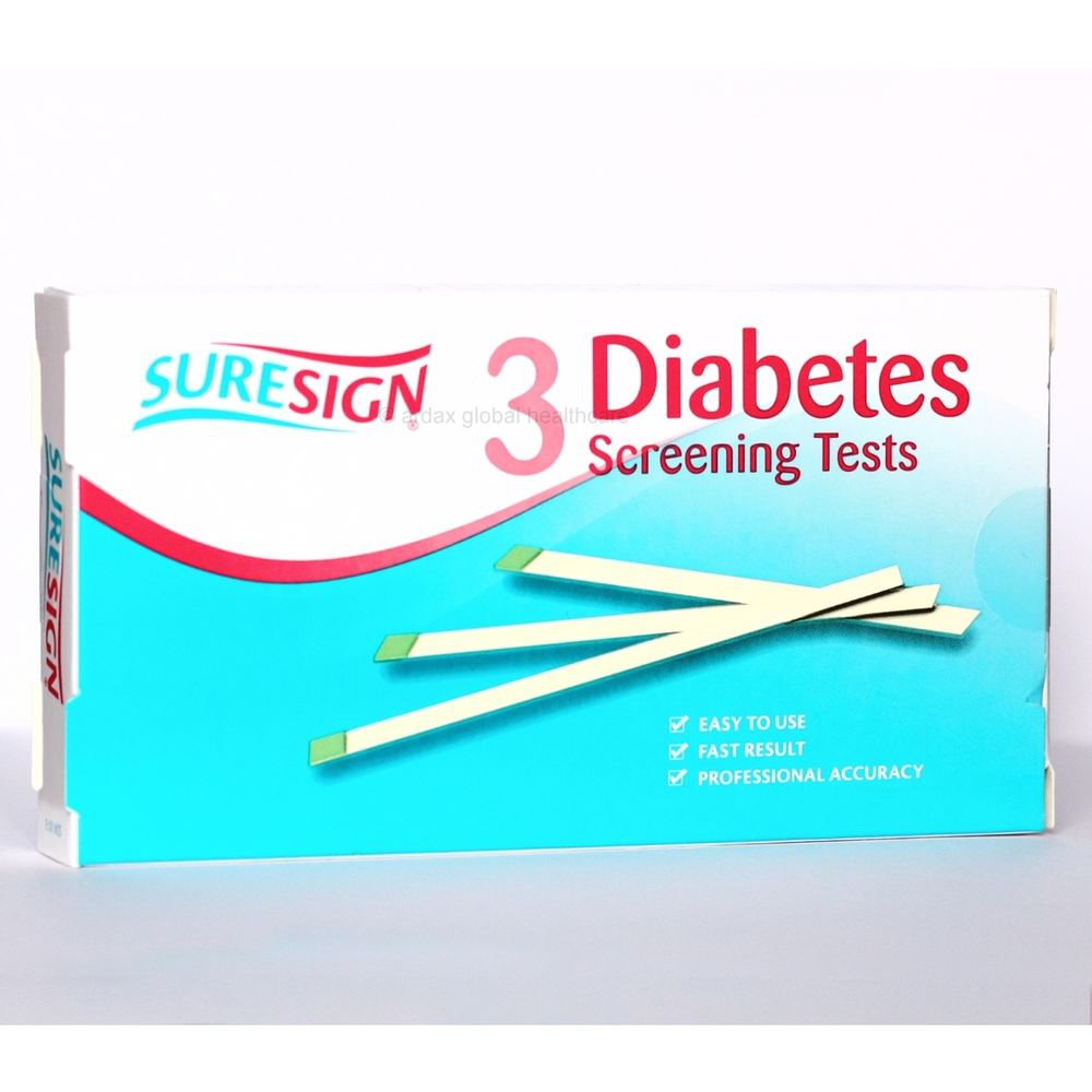 SURESIGN DIABETES SCREENING TEST, 3 URINE STRIPS, RESULTS IN 90 SECONDS