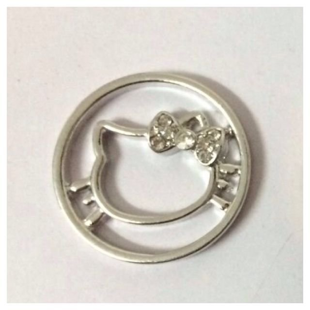 Silver Hello Kitty Window Plate 22mm fits Large 30mm Living Locket