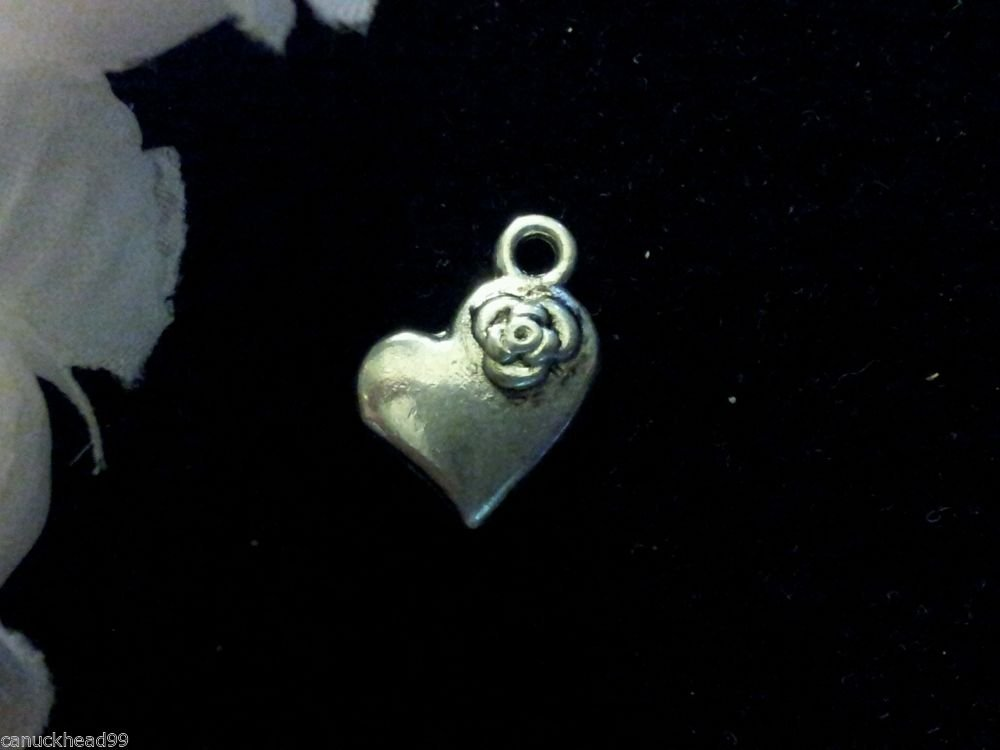 12pcs Tibetan Silver Metal Alloy Charm Charms Heart with Flower 13x11mm