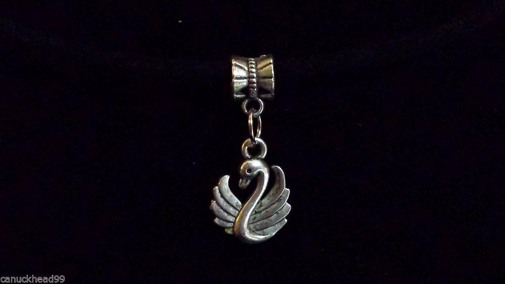 1pc Silver Tone Charm Dangle Spacer Large Hole Bead European Bracelet Swan Bird