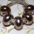 10pcs Acrylic Silver Buckle Core European Charm Beads Red Orange Metallic