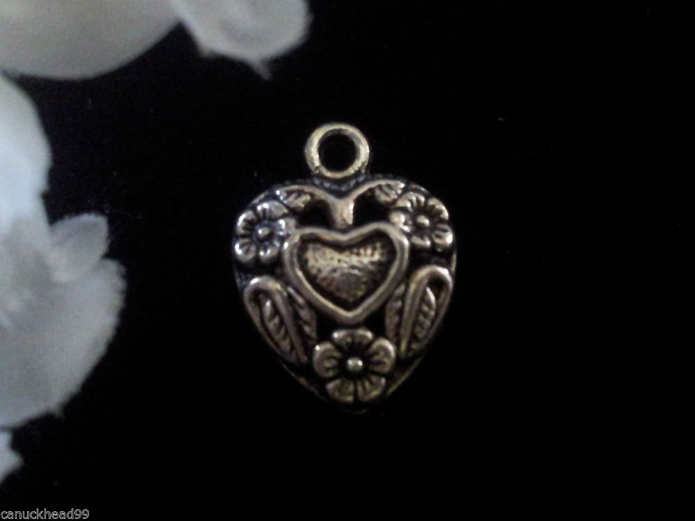12pcs Tibetan Silver Metal Alloy Charm Charms Pendant Heart with Flowers Canada