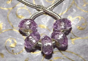 10pcs Acrylic Silver Buckle Core European Faceted Charm Beads 14mm Light Purple