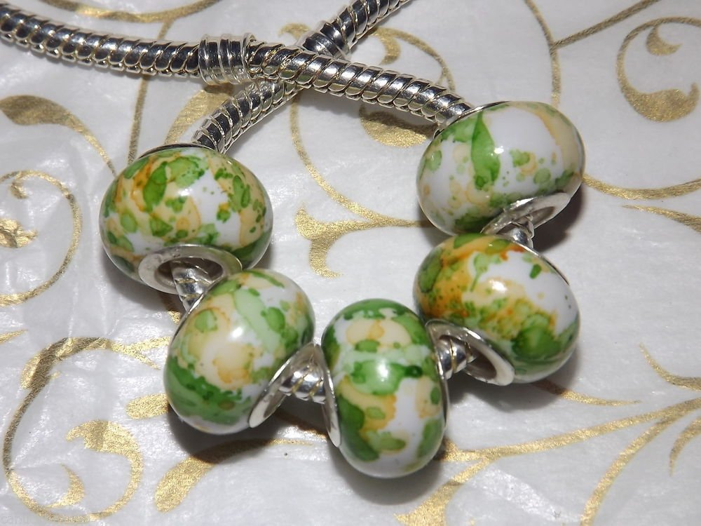 10pc Acrylic Silver Buckle Core European Charm Beads Green Yellow Paint Splatter