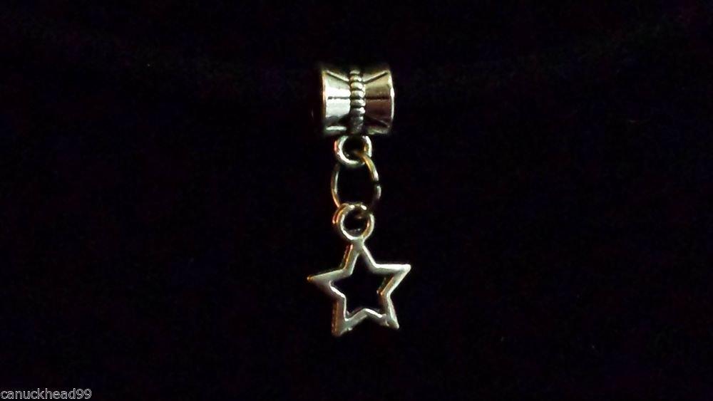 1pc Silver Tone Charm Dangle Spacer Large Hole Bead European Bracelet Star 2
