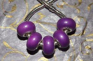 10pcs Acrylic Silver Buckle Core European Charm Beads Bracelet Solid Purple