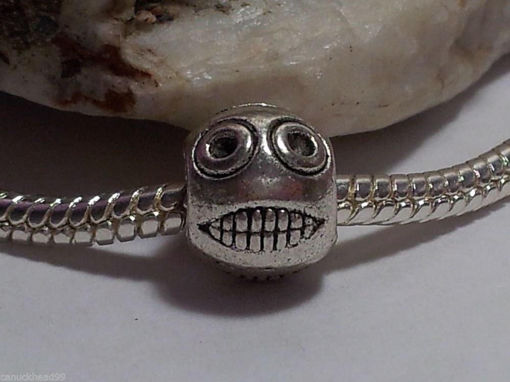 1pc Tibetan Silver Face Ball Character Spacer Large Hole European Bead Charm