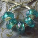 10pcs Acrylic Silver Buckle Core European Faceted Charm Beads 14mm AB Blue Green
