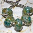 10pcs Acrylic Silver Buckle Core European Charm Beads Transparent Yellow Blue