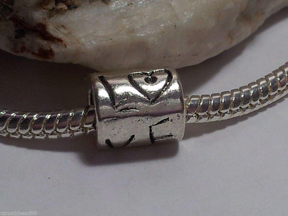 1pc Tibetan Silver Love Tube Words Heart Spacer Large Hole European Bead Charm