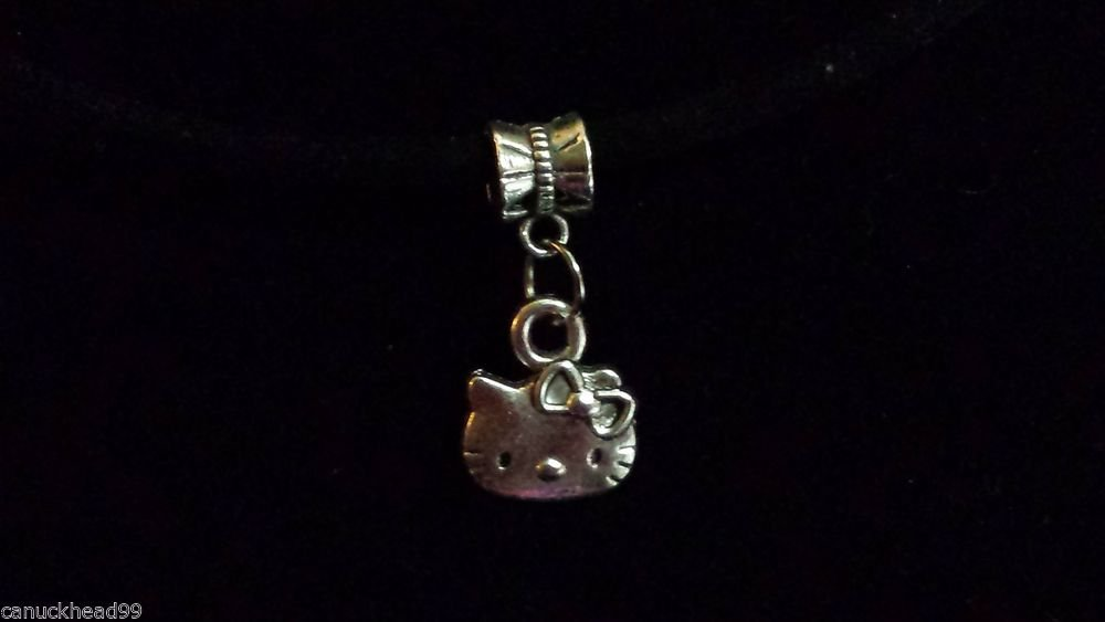 1pc Silver Tone Charm Dangle Spacer Large Hole Euro Bracelet Kitty Cat Hello