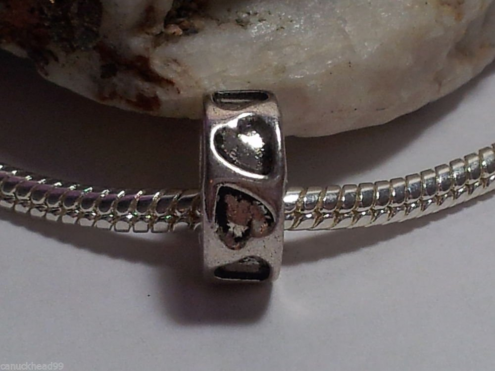 1pc Tibetan Silver Hearts Stamped Ring Spacer Large Hole European Bead Charm