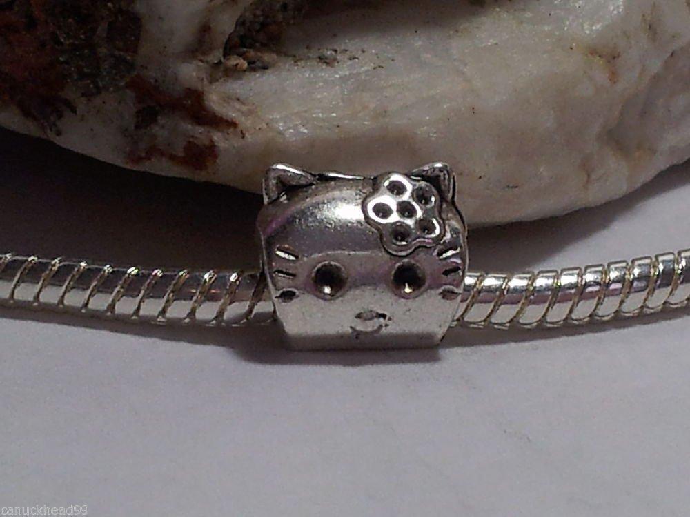 1pc Tibetan Silver Small Kitty Cat Spacer Large Hole European Bead Charm Hello