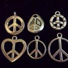 12pcs Tibetan Silver Metal Alloy Charm Charms Pendant Peace Signs Mix #6