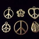 12pcs Tibetan Silver Metal Alloy Charm Charms Pendant Peace Signs Mix #5