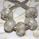 10pcs Murano Glass Silver Buckle Core European Charm Beads Cream White Spots