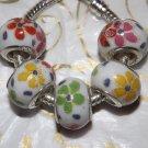 10pcs Ceramic Silver Buckle Core European Charm Beads Flower Print