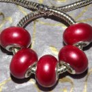 10pcs Acrylic Silver Buckle Core European Charm Beads Bracelet Solid Red