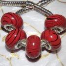 10pcs Acrylic Silver Buckle Core European Charm Beads Orange Black Stripes