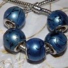 10pcs Acrylic Silver Buckle Core European Charm Beads Large Drum Blue
