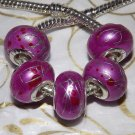10pcs Acrylic Silver Buckle Core European Charm Beads Magenta Silver Paint Lines