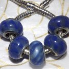 10pcs Murano Glass Silver Buckle Core European Charm Beads Blue Swirl