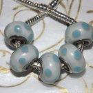 10pcs Murano Glass Silver Buckle Core European Charm Beads White Blue Spots