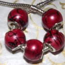 10pcs Acrylic Silver Buckle Core European Charm Beads Large Drum Red