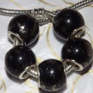 10pcs Acrylic Silver Buckle Core European Charm Beads Large Drum Black