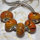 10pcs Acrylic Silver Buckle Core European Charm Beads Yellow Black Stripes