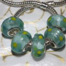 10pcs Murano Glass Silver Buckle Core European Charm Beads Green Floral