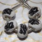 10pcs Ceramic Silver Buckle Core European Charm Beads Black Leaf Print