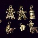 12pcs Tibetan Silver Metal Alloy Charm Charms Pendant Baby Theme Mix