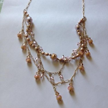 Gold Filled Peach Crystal Necklace