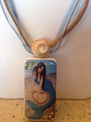 Mermaid in sand domino necklace
